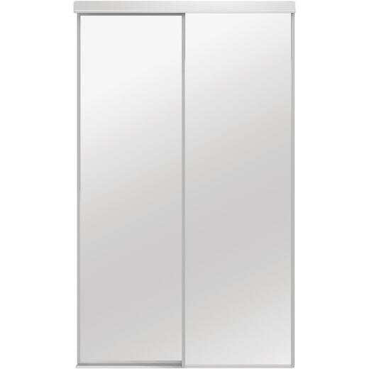 Colonial Elegance Classic 48 In. W x 80-1/2 In. H White Framed Mirrored Sliding Bypass Door