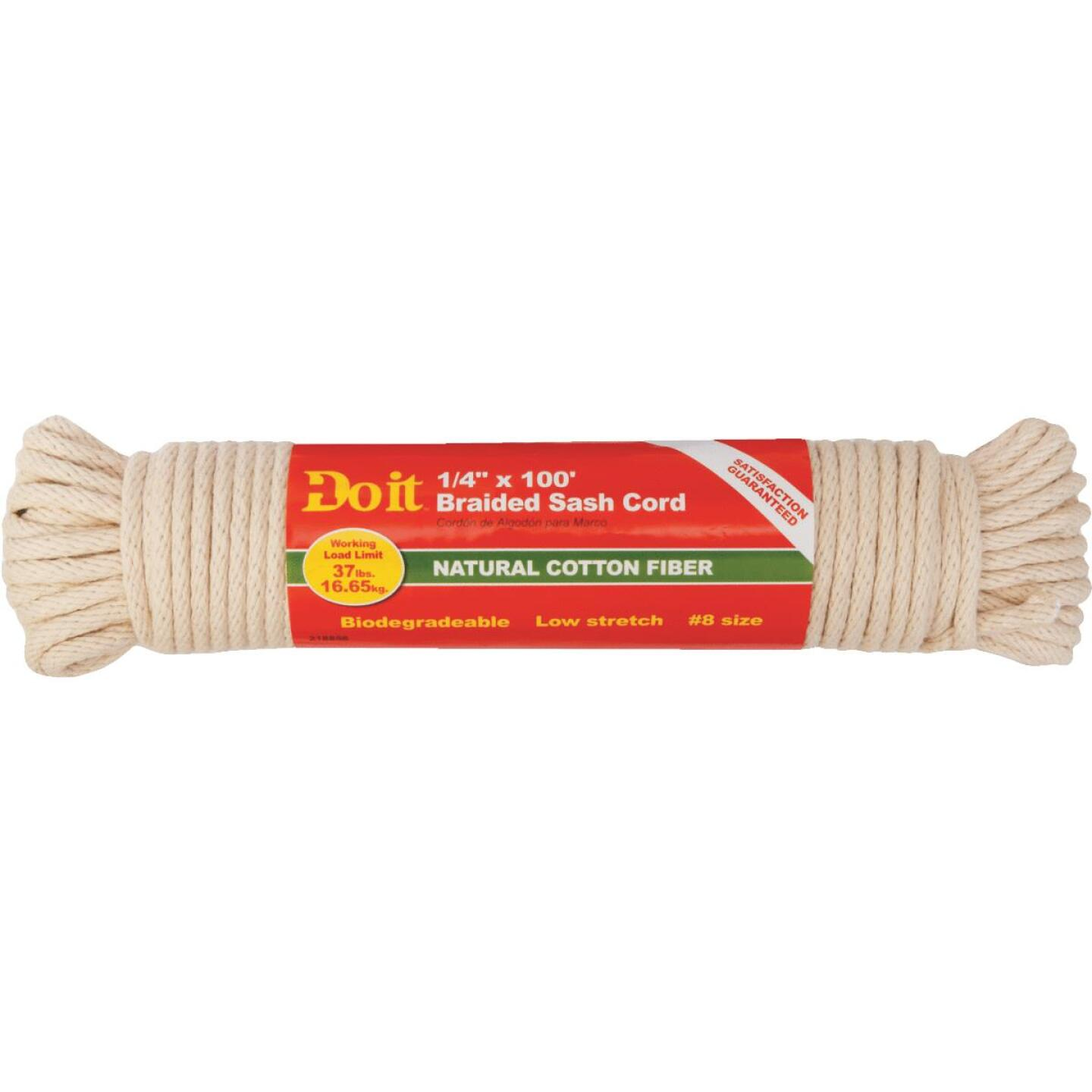 Do it 1/4 In. x 100 Ft. White Solid Braided Cotton Sash Cord Image 3