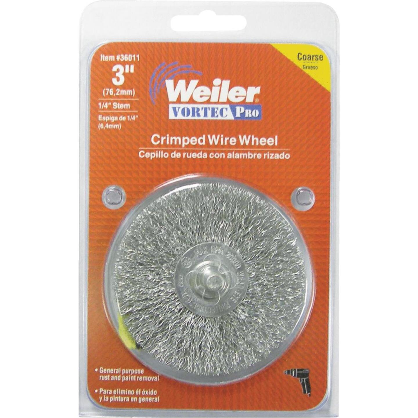 Weiler Vortec 3 In. Crimped, Coarse Drill-Mounted Wire Brush Image 2