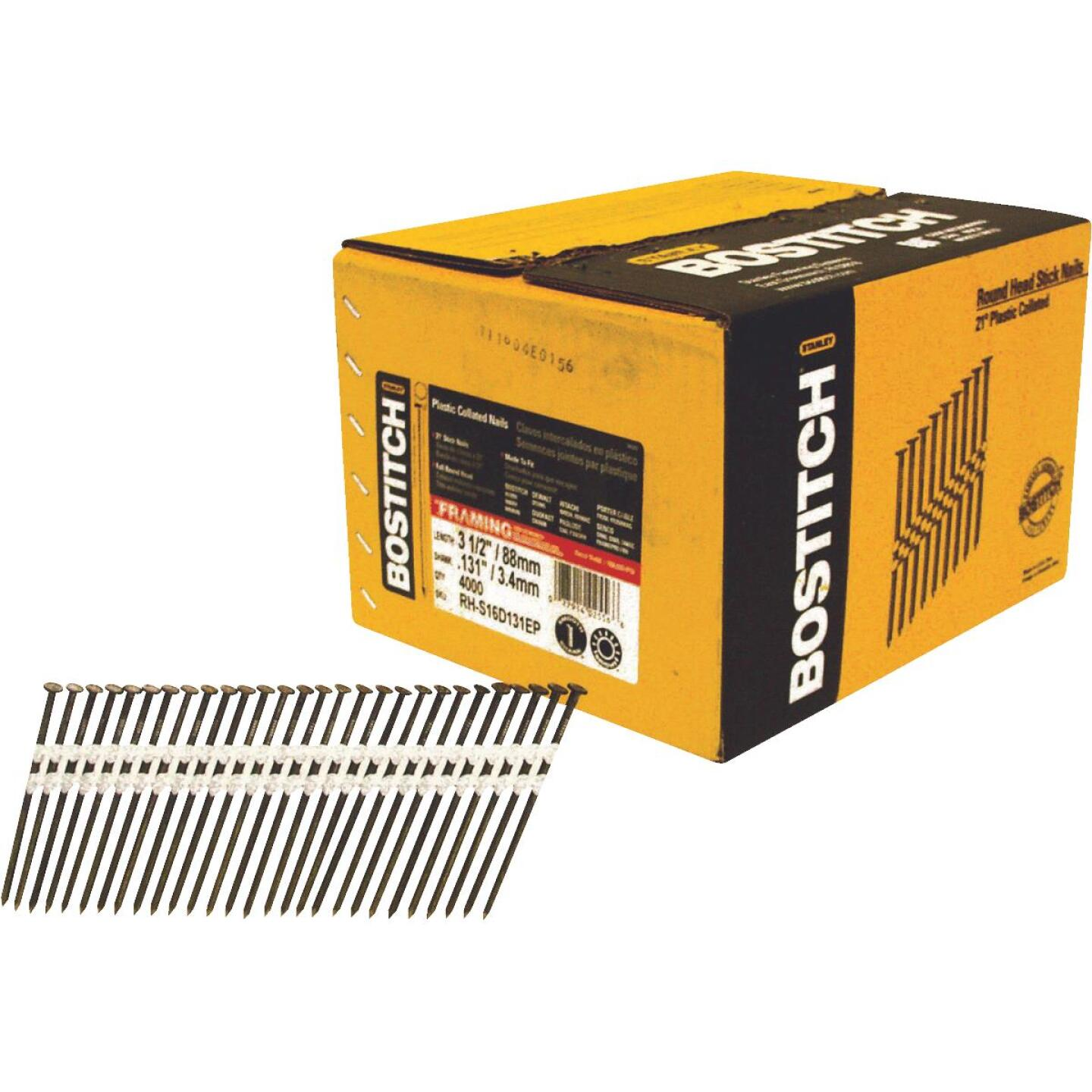 Bostitch 21 Degree Plastic Strip Coated Full Round Head Framing Stick Nails, 3-1/2 In. x .131 In. (4000 Ct.) Image 1