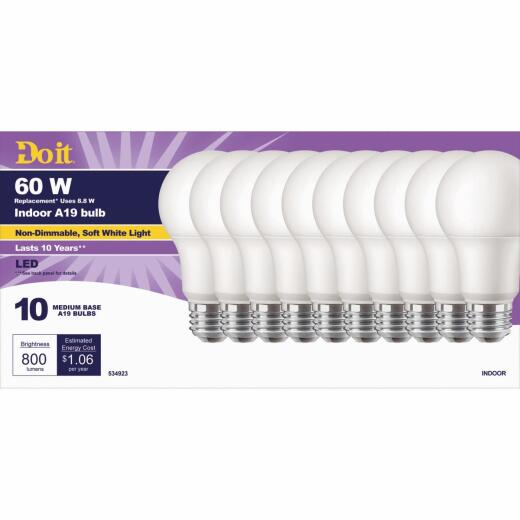 Do it 60W Equivalent Soft White A19 Medium LED Light Bulb, Title 20 (10-Pack)
