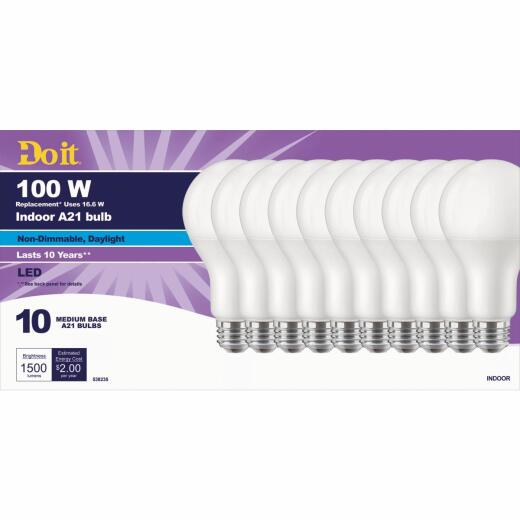 Do it 100W Equivalent Daylight A21 Medium LED Light Bulb, Title 20 (10-Pack)