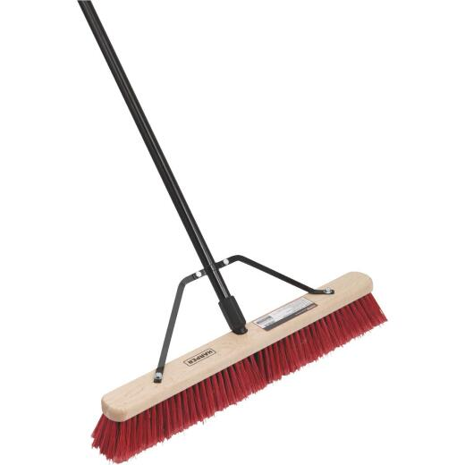 Harper 24 In. Red Bordered Indoor/Outdoor Block Push Broom with Steel Brace
